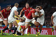 Liam Williams of Wales makes a break. Rugby World Cup 2015 pool A match, England v Wales at Twickenham Stadium in London, England  on Saturday 26th September 2015.<br /> pic by  Andrew Orchard, Andrew Orchard sports photography.