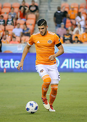 May 25, 2018 - Houston, TX, U.S. - HOUSTON, TX - MAY 25:  Houston Dynamo defender Alejandro Fuenmayor (2) dribbles the ball during the MLS match between the New York FC and Houston Dynamo on May 25, 2018 at BBVA Compass Stadium in Houston, Texas.  (Photo by Leslie Plaza Johnson/Icon Sportswire) (Credit Image: © Leslie Plaza Johnson/Icon SMI via ZUMA Press)