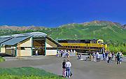 Alaska. Railroad depot at Denali National Park.