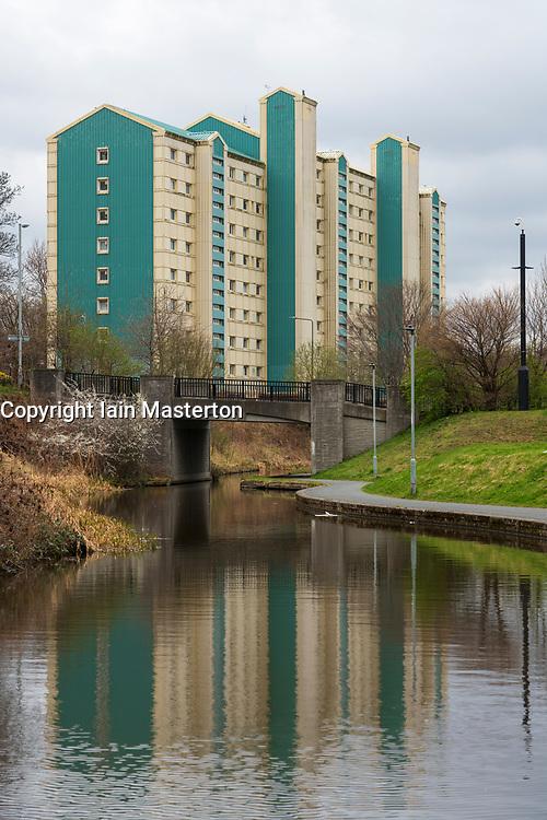 High rise apartment block beside the Union Canal in Wester Hailes, Edinburgh, Scotland, UK