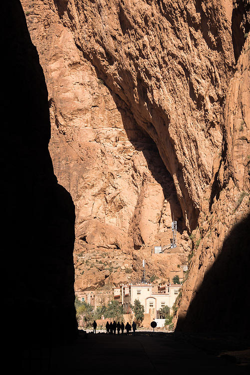 9 January 2018, Todgha Gorge, Morocco: The Todgha Gorges are a series of limestone river canyons, or wadi, in the eastern part of the High Atlas Mountains in Morocco. The canyon walls are up to 400 metres high.