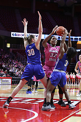 NORMAL, IL - February 10: Simone Goods gets doubled by Regan Wentland and Ashli O'Neal during a college women's basketball Play4Kay game between the ISU Redbirds and the Indiana State Sycamores on February 10 2019 at Redbird Arena in Normal, IL. (Photo by Alan Look)