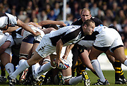 Wycombe. GREAT BRITAIN, 10th October 2004, Guinness Premiership Rugby, London Wasps and Newcastle Falcons, Adams Park, ENGLAND. [Mandatory Credit; Pete Spurrier/Intersport-images]<br /> <br /> Falcons's Scrum half Hall Charlton clears the ball. Wasps Lawrence Dallaglio watches from the back of the Wasps scrum.