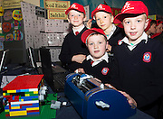 Michael Brosnan, Bel Clarke, Eoin O'Connor, Mathew Friel from  Scoil Einde NS Salthill who made a functioning Brail machine from lego at the annual Junior FIRST Lego League run by Galway Education Centre, in the Radisson blu Hotel.  Photo:Andrew Downes<br />  Photo:Andrew Downes, XPOSURE