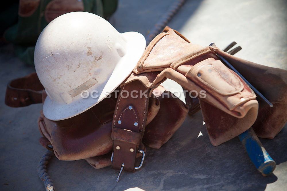 Construction Hard Hat and Tool Belt