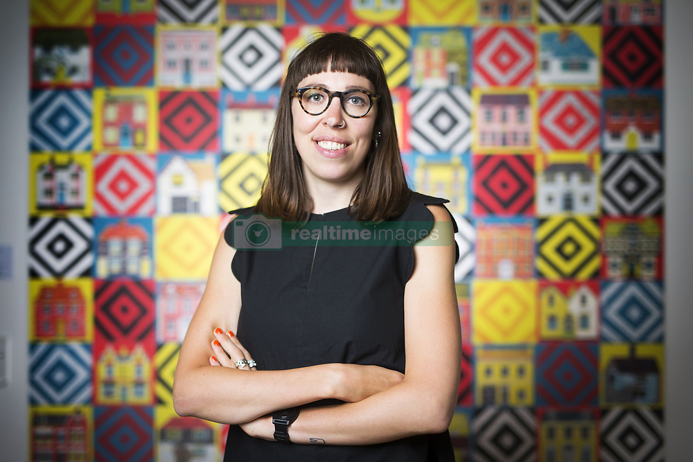 June 15, 2017 - Wakefield, Yorkshire, UK - Wakefield UK. Picture shows Illustrator Alice Pattullo in front of her wall hanging screen printed ''quilt'', the artist has a new exhibition at the Yorkshire Sculpture park called Of House & Home which is her most ambitious project to date & includes 60 new screen printed editions revealing Pattullo's fascination with traditions, superstitions & folklore. The exhibition takes visitors on a journey through a victorian household from garden to parlour culminating with the heart of the home a recreation of a traditional fireplace & mantlepiece. (Credit Image: © Andrew Mccaren/London News Pictures via ZUMA Wire)