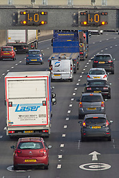 ©Licensed to London News Pictures 28/08/2020 Dartford,UK. Speed limit signs on A282. The big August bank holiday staycation getaway has started today on the A282 in Dartford, Kent. Traffic near the Dartford crossing is starting to get busy as bank holiday travellers look to get away. 18 million cars are expected on the roads this weekend with rail cancellations due to engineering works causing delays. Photo credit: Grant Falvey/LNP