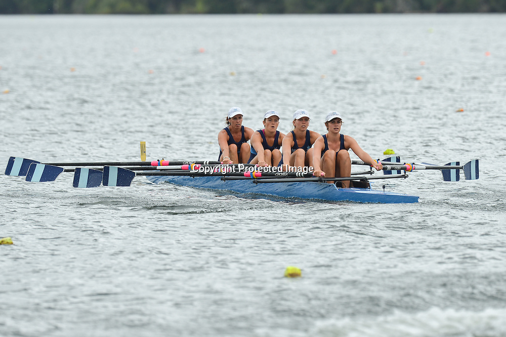 Competitors in the Womans Club Quad competing in their event, day 2 of racing at The NZ Rowing Champs, Karapiro, 19 February, 2014.