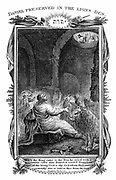 Daniel, one of four great Hebrew prophets,  cast into the Lions' den by Nebuchadnezzar (Nebuchadrezzar) king of Babylon who is calling down '..is thy God …able to delivery thee from the lions?'  'Bible' Daniel 6:20.  Daniel's survival demonstrated power of his true God Jehovah and insignificance of the Assyrio-Babylonian god Bel (Baal). Copperplate engraving 1804