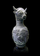 6th century BC Etruscan Bull headed bucherro style oinochoe, or wine jug,  made in Chuisi and excavated from the necropolis de Fonte Rotella, inv 3190, National Archaeological Museum Florence, Italy .<br /> <br /> If you prefer to buy from our ALAMY PHOTO LIBRARY  Collection visit : https://www.alamy.com/portfolio/paul-williams-funkystock - Scroll down and type - Etruscan Florence - into LOWER search box. (TIP - Refine search by adding a background colour as well).<br /> <br /> Visit our ETRUSCAN PHOTO COLLECTIONS for more photos to download or buy as wall art prints https://funkystock.photoshelter.com/gallery-collection/Pictures-Images-of-Etruscan-Historic-Sites-Art-Artefacts-Antiquities/C0000GgxRXWVMLyc