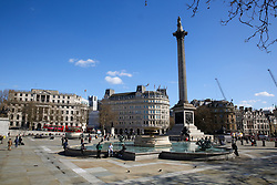 © Licensed to London News Pictures. 16/03/2020. London, UK. Deserted Trafalgar Square as tourist are avoiding crowded area. 35 coronavirus victims have died and 1,372 have tested positive for the virus in the UK as of 9am on Sunday, 15 March 2020. Photo credit: Dinendra Haria/LNP