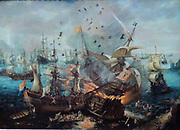 The Explosion of the Spanish Flagship in the Battle of Gibraltar April 25th 1607 by Cornelis Claesz van Wieringen. n 1621 the Admiralty of Amsterdam decided to commission a painting commemorating the Battle of Gibraltar that took place in 1607. This battle, in which the Dutch squadron had destroyed the Spanish fleet in the Bay of Gibraltar, was the first major Dutch naval victory in the Eighty Years' War.