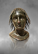 Roman bronze sculpture of Ptolomy Apion  from the square peristyle of the Villa of the Papyri in Herculaneum, Naples Museum of Archaeology, Italy ..<br /> <br /> If you prefer to buy from our ALAMY STOCK LIBRARY page at https://www.alamy.com/portfolio/paul-williams-funkystock/greco-roman-sculptures.html . Type -    Naples    - into LOWER SEARCH WITHIN GALLERY box - Refine search by adding a subject, place, background colour, etc.<br /> <br /> Visit our ROMAN WORLD PHOTO COLLECTIONS for more photos to download or buy as wall art prints https://funkystock.photoshelter.com/gallery-collection/The-Romans-Art-Artefacts-Antiquities-Historic-Sites-Pictures-Images/C0000r2uLJJo9_s0