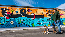 Pictured: Edinburgh Dog & Cat Home Mural Unveiling. , Edinburgh, Scotland, 03 May 2019. Beagles Bella (front) and Barney (behind) with Vicky and Ceilidh from the rescue centre. Both dogs are looking for a good home. The 80 foot mural is unveiled today as a colourful addition to Seafield promenade. It is designed and painted by local artists Studio N_Name. It depicts the people, heritage and environment of the local community and features flora, fauna and historic elements of the local coastline. It has been made possible through through partnership with Edinburgh Shoreline Project. It is on the seafront wall of the dog & cat home which rescues, reunites and rehomes lost, stray and abandoned dogs and cats across Edinburgh and the Lothians, caring for 2,367 dogs and 771 cats in 2018.<br /> Sally Anderson | EdinburghElitemedia.co.uk