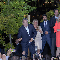Hungarian Prime Minister Viktor Orban (top L) and fans of his government party Fidesz celebrates their victory during the European Parliamentary election in Budapest, Hungary on May 26, 2019. ATTILA VOLGYI