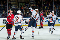 KELOWNA, BC - MARCH 09:  Jermaine Loewen #32 of the Kamloops Blazers celebrates the tie breaking winning goal against the Kelowna Rockets at Prospera Place on March 9, 2019 in Kelowna, Canada. (Photo by Marissa Baecker/Getty Images)