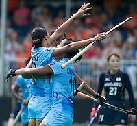 ANTWERP -  India celebrates. Rani Rani (l) has scored 1-0   during  the hockeymatch  India vs Japan  for the 5th place .  WSP COPYRIGHT KOEN SUYK