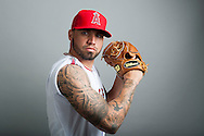 The Angels' Hector Santiago poses during the Halos' 2015 Spring Training photo day.<br /> <br /> ///ADDITIONAL INFO:   <br /> <br /> angels2015.0227.kjs  ---  Photo by KEVIN SULLIVAN / Orange County Register  --  2/28/15<br /> <br /> Day 3 of Spring Training - The 2015 Los Angeles Angels of Anaheim at Tempe Diablo Stadium Wednesday.<br /> <br /> 2/28/15