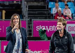 PORTOROZ, SLOVENIA - SEPTEMBER 18: Katarina Srebotnik doing the coin toss during the finals of WTA 250 Zavarovalnica Sava Portoroz at SRC Marina, on September 19, 2021 in Portoroz / Portorose, Slovenia. Photo by Nik Moder / Sportida