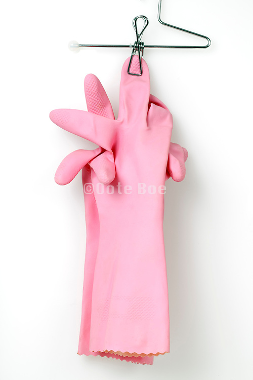 a pair of pink household working gloves