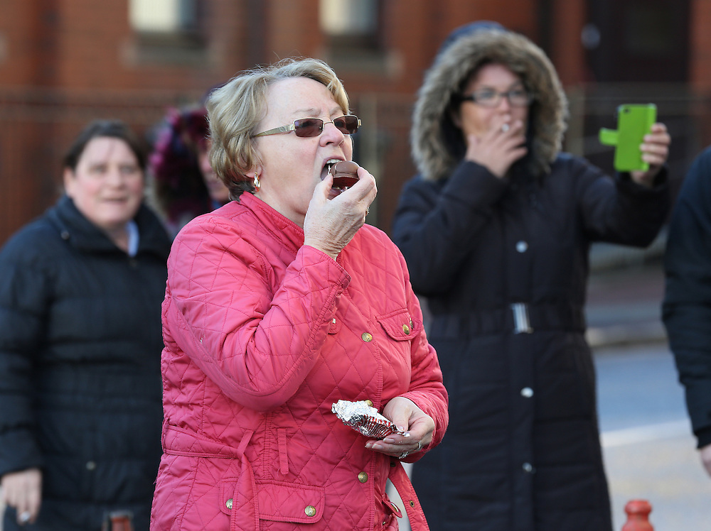 Members the Scottish Resistance  are heckled outside Tunnocks Factory in Uddingston to demonstrate their opposition to the removal of the lion rampant from the famous brand teacakes which are manufactured in the factory behind them. Picture Robert Perry 14th Jan 2016<br /> <br /> Must credit photo to Robert Perry<br /> FEE PAYABLE FOR REPRO USE<br /> FEE PAYABLE FOR ALL INTERNET USE<br /> www.robertperry.co.uk<br /> NB -This image is not to be distributed without the prior consent of the copyright holder.<br /> in using this image you agree to abide by terms and conditions as stated in this caption.<br /> All monies payable to Robert Perry<br /> <br /> (PLEASE DO NOT REMOVE THIS CAPTION)<br /> This image is intended for Editorial use (e.g. news). Any commercial or promotional use requires additional clearance. <br /> Copyright 2014 All rights protected.<br /> first use only<br /> contact details<br /> Robert Perry     <br /> 07702 631 477<br /> robertperryphotos@gmail.com<br /> no internet usage without prior consent.         <br /> Robert Perry reserves the right to pursue unauthorised use of this image . If you violate my intellectual property you may be liable for  damages, loss of income, and profits you derive from the use of this image.