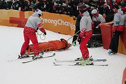 February 14, 2018 - PyeongChang, South Korea - YUTO TOTSUKA of Japan is taken away for medical care after a fall during Snowboard Men's Halfpipe Final at Phoenix Snow Park during the 2018 Pyeongchang Winter Olympic Games. (Credit Image: © Scott Mc Kiernan via ZUMA Wire)