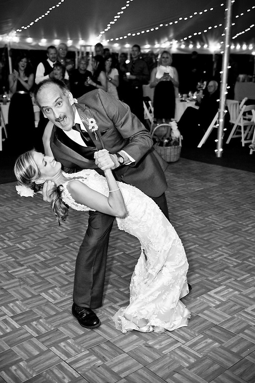 Father and bride finish their dance at the Dexter Inn, Sunapee, NH.