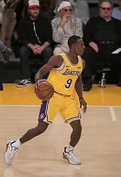 October 20, 2018 - Los Angeles, California, U.S - Ramon Rondo #9 of the Los Angeles Lakers with the ball during their NBA game with the Houston Rockets on Saturday October 20, 2018 at the Staples Center in Los Angeles, California. (Credit Image: © Prensa Internacional via ZUMA Wire)