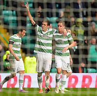 26/10/14 SCOTTISH PREMIERSHIP <br /> CELTIC v KILMARNOCK <br /> CELTIC PARK - GLASGOW <br /> Celtic striker Stefan Scepovic (left) celebrates his goal with team-mate Stefan Johansen