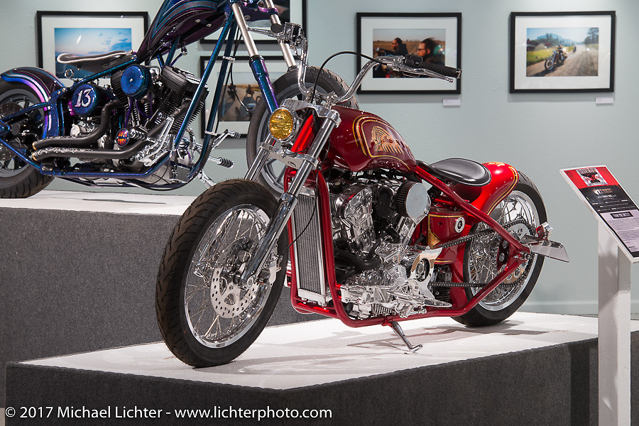 Karlee Cobb's Indian Scout rigid custom in the Old Iron - Young Blood exhibition in the Motorcycles as Art gallery at the Buffalo Chip during the annual Sturgis Black Hills Motorcycle Rally. Sturgis, SD, USA. Wednesday August 9, 2017. Photography ©2017 Michael Lichter.