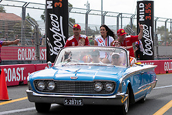 October 21, 2018 - Gold Coast, QLD, U.S. - GOLD COAST, QLD - OCTOBER 21: Fabian Coulthard and Tony D'Alberto in the Shell V-Power Racing Team Ford Falcon during the parade lap at The 2018 Vodafone Supercar Gold Coast 600 in Queensland, Australia. (Photo by Speed Media/Icon Sportswire) (Credit Image: © Speed Media/Icon SMI via ZUMA Press)