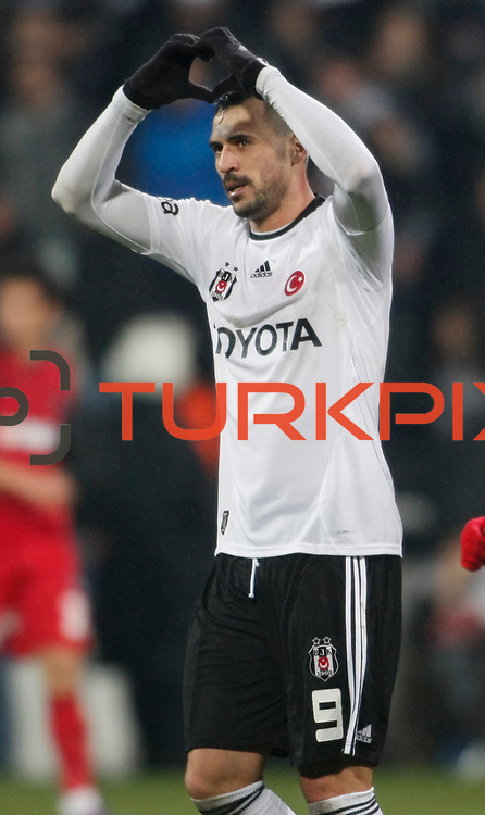 Besiktas's Hugo Almedia celebrate his goal during their Turkish superleague soccer match Besiktas between Gaziantepspor at BJK Inonu Stadium in Istanbul Turkey on Tuesday, 05 January 2012. Photo by TURKPIX