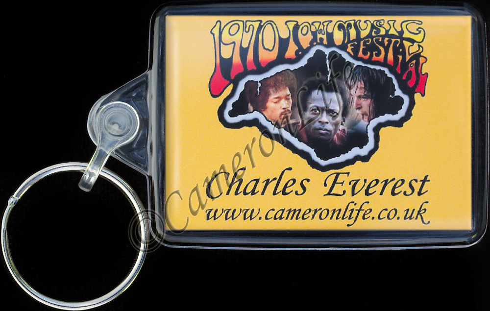 Reverse sides of Key Fobs have an exclusive CameronLife  1970 IW festival design