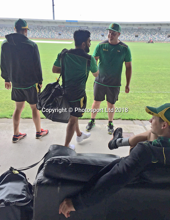 Top qualifiers the Central Stags arrive at a damp McLean Park in Round Eight of The Ford Trophy.<br /> Central Stags v Northern Districts, Round 8 of the Ford Trophy One Day cricket match at McLean Park, Napier, New Zealand on 11 February 2018.<br /> Copyright photo: Margot Butcher / www.photosport.nz