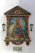 Ceramic tiles image of Virgin de la Oliva, Church of Divino Salvador, Vejer de la Frontera, Cadiz Province, Spain
