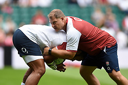 Billy Vunipola of England in action with Assistant Coach Neal Hatley during the pre-match warm-up - Mandatory byline: Patrick Khachfe/JMP - 07966 386802 - 11/08/2019 - RUGBY UNION - Twickenham Stadium - London, England - England v Wales - Quilter International