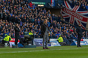 Hearts Interim Manager Austin MacPhee & Rangers Manager Steven Gerrard during the Betfred Scottish League Cup semi-final match between Rangers and Heart of Midlothian at Hampden Park, Glasgow, United Kingdom on 3 November 2019.