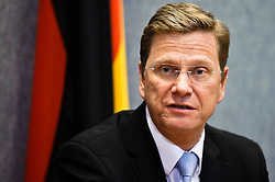 German Foreign Minister Guido Westerwelle talks to the media during the EU Foreign Affairs council in Luxembourg on 2010-04-26. EXPA Pictures © 2016, PhotoCredit: EXPA/ Photoshot/ Wiktor Dabkowski<br /> <br /> *****ATTENTION - for AUT, SLO, CRO, SRB, BIH, MAZ, SUI only*****