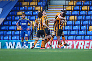 Hull City attacker Josh Magennis (27) celebrates scoring penalty during the EFL Sky Bet League 1 match between AFC Wimbledon and Hull City at Plough Lane, London, United Kingdom on 27 February 2021.