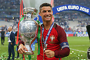 Portugal Forward Cristiano Ronaldo with the trophy during the Euro 2016 final between Portugal and France at Stade de France, Saint-Denis, Paris, France on 10 July 2016. Photo by Phil Duncan.