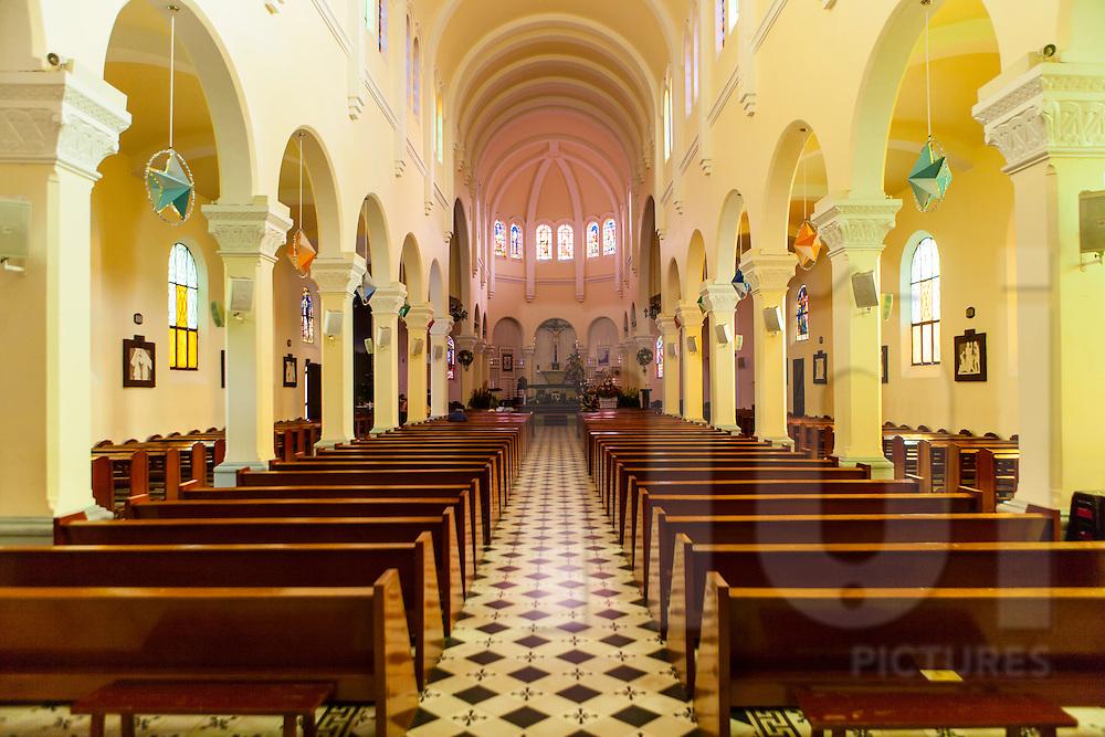 Nave in Cock Church, Da Lat, Vietnam, Southeast Asia