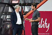 Crystal Palace manager Roy Hodgson and AFC Bournemouth manager Jason Tindall chat ahead of the EFL Cup match between Bournemouth and Crystal Palace at the Vitality Stadium, Bournemouth, England on 15 September 2020.
