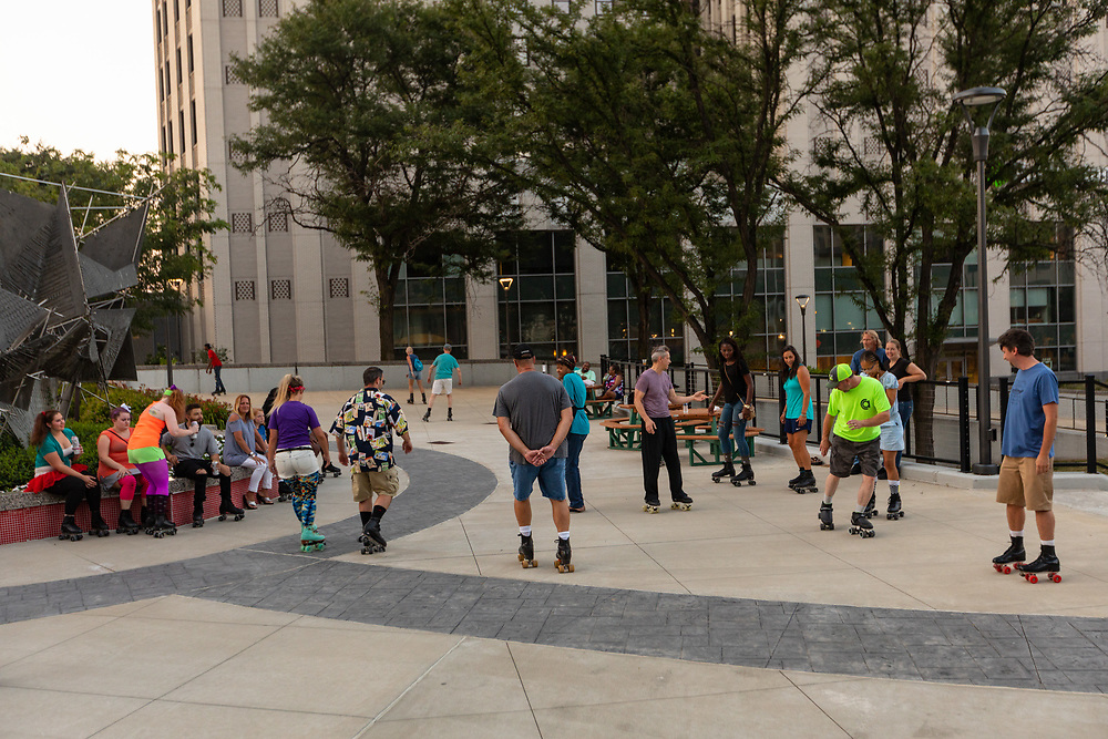 A totally tubular roller dance party on Cascade Plaza. Event sponsored by the John S. and James L. Knight Foundation, Downtown Akron Partnership and Akron Civic Commons. Roller Dance Party at Cascade Plaza
