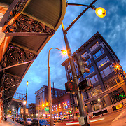 Intersection of 10th and Broadway, downtown Kansas City, Missouri.