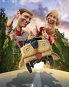 Jim Carrey returns as Lloyd Christmas, Jeff Daniels returns as Harry Dunne, in the two-decades-in-the-making sequel. Photoshop and 3D modeling. Originally created for Penthouse Movie Review.