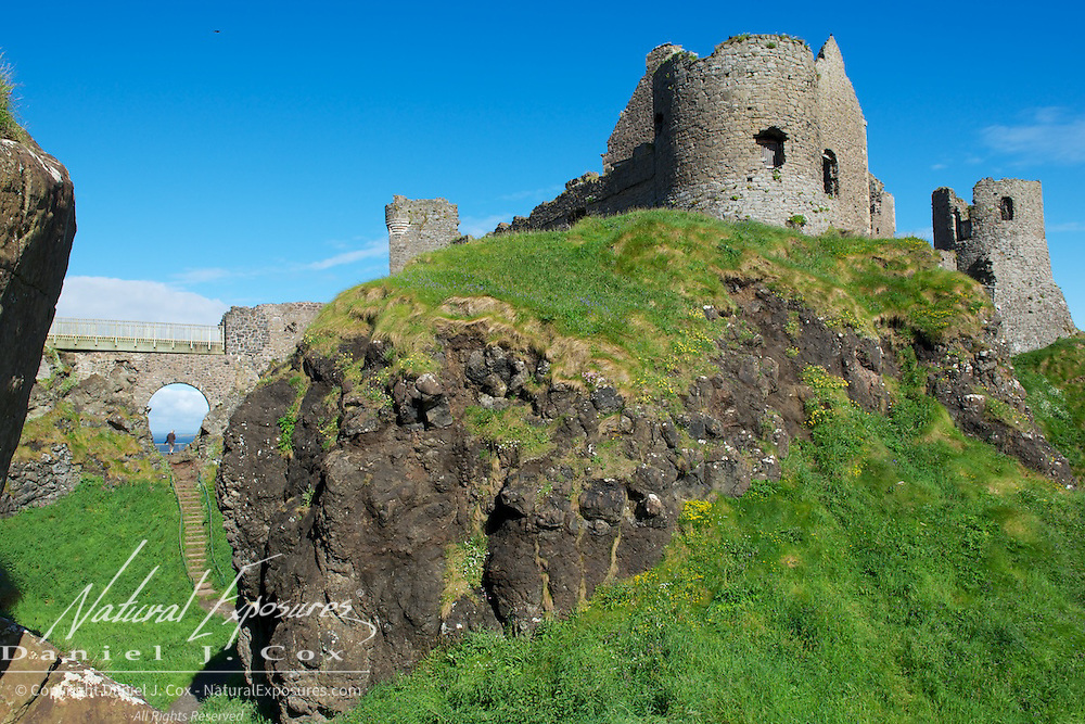 Dunluce Castle is now a ruined medieval castle in Northern Ireland. It is located on the edge of a basalt outcropping in County Antrim (between Portballintrae and Portrush), Ireland.
