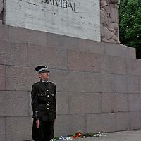 Europe, Latvia, Riga. Guard of Honor at the Freedom Monument in Riga.