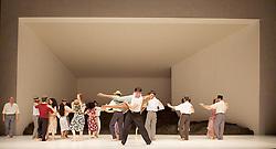 Tanztheater Wuppertal Pina Bausch <br /> 'Masurca Fogo' <br /> at Sadler's Wells, London, Great Britain <br /> rehearsals<br /> 8th February 2017 <br /> <br /> Tanztheater Wuppertal Pina Bausch: Masurca Fogo<br /> <br /> Masurca Fogo, created by the endlessly inventive Pina Bausch, returns to Sadler's Wells from 9 - 12 February 2017. The piece is performed by the legendary Tanztheater Wuppertal Pina Bausch, a Sadler's Wells International Associate Company.<br /> <br /> <br /> <br /> <br /> Performers:<br /> Regina Advento, Pablo Aran Gimeno, Emma Barrowman, Rainer Behr, Andrey Berezin, Michael Carter, Çağdaş Ermis, Silvia Farias Heredia, Jonathan Fredrickson, Ditta Miranda Jasjfi, Daphnis Kokkinos, Cristiana Morganti, Breanna O'Mara, Nazareth Panadero, Julie Shanahan, Oleg Stepanov, Julian Stierle, Fernando Suels Mendoza, Aida Vainieri, Ophelia Young.<br /> <br /> Photograph by Elliott Franks <br /> Image licensed to Elliott Franks Photography Services