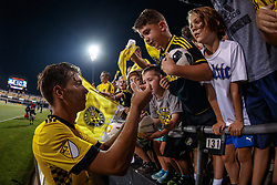 August 11, 2018 - Columbus, OH, U.S. - COLUMBUS, OH - AUGUST 11: Columbus Crew forward Pedro Santos (7) signs autographs after the MLS regular season game between the Columbus Crew SC and the Houston Dynamo on August 11, 2018 at Mapfre Stadium in Columbus, OH. The Crew won 1-0. (Photo by Adam Lacy/Icon Sportswire) (Credit Image: © Adam Lacy/Icon SMI via ZUMA Press)