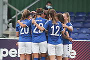 Everton women celebrate after making it 2-1 during the FA Women's Super League match between Everton Women and Brighton and Hove Albion Women at the Select Security Stadium, Halton, United Kingdom on 18 October 2020.